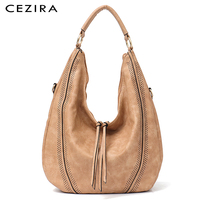 CEZIRA New Fashion Women Handbag Soft Ladies PU Leather Tassel Girl's Shoulder Bag Big Large Female Studs Hobos Tote Bag