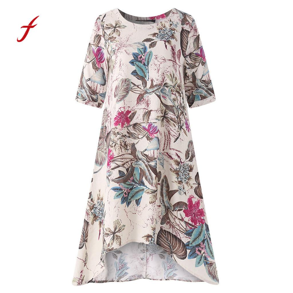 Feitong Women'S Dressess O-Neck Casual Floral Printed Short Sleeve Irregularity Vintage Dress Decoration Dresses Summer 2019