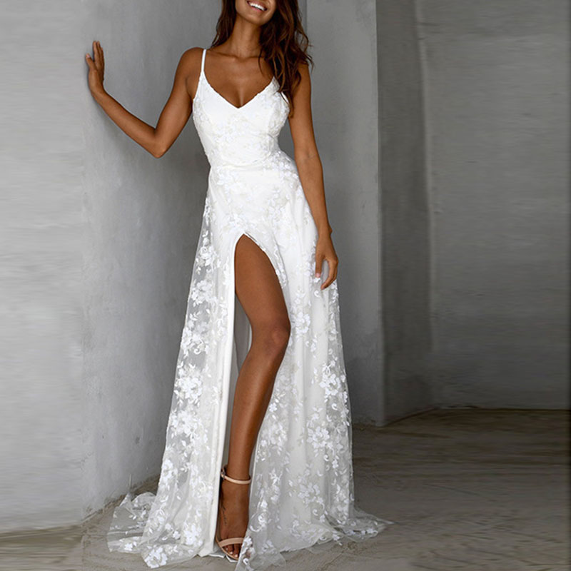 Spaghetti strap white lace party dress women Sleeveless solid color long maxi dress Summer elegant flower robe femme vestidos