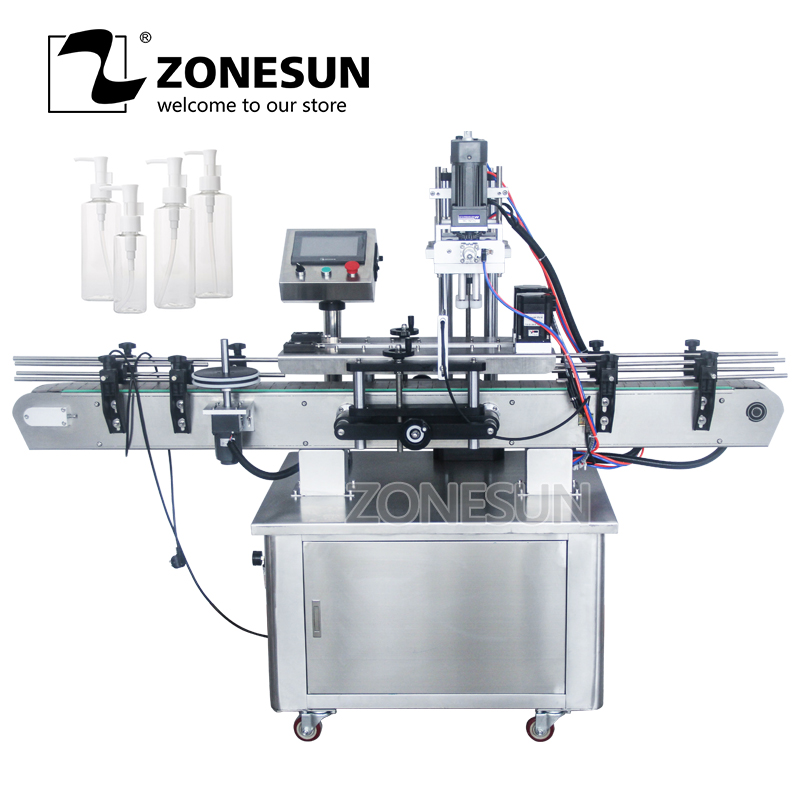 ZONESUN Automatic Desktop Electric Plastic Glass Crystal Water Perfume Shampoo Cosmetic Nail Polish Bottle Capping Machine