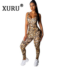 XURU Summer New Womens Leopard Print Jumpsuit Tights Casual Sleeveless