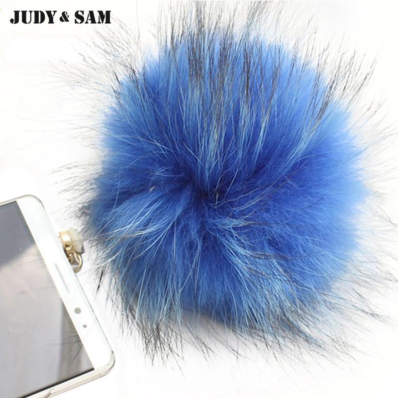 High Quality Phone Accessories 7 Colors Raccoon Fur Pompon Fur Ball Pearl 1213CM Earphone Jack Plug For Chain