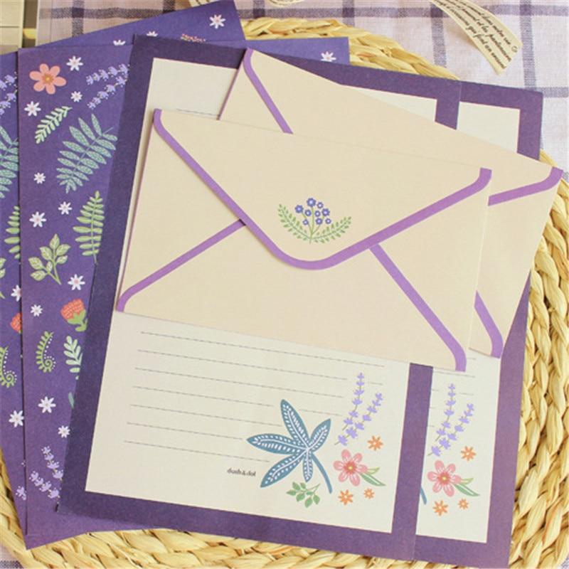 2 Envelops 4 Letter Paper Kawaii Cartoon Fox Flamingos Flowers Envelope For Invitations Cute School Stationary Supplies 03248