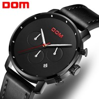 DOM Reloje 2018 Men Watch Male Leather Automatic date Quartz Watches Mens Luxury Brand Waterproof Sport Clock Relogio Masculino