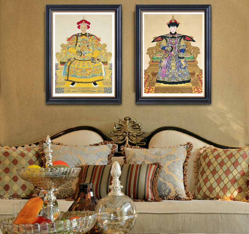 Canvas painting portrait wall decor art print home poster art Chinese traditional painting emperor empress Giuseppe Castiglione
