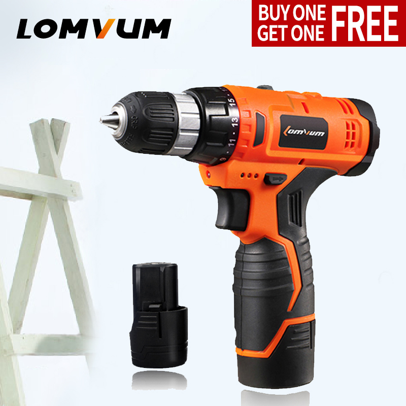 LOMVUM 12v two speed Household screwdriver Lithium Ion Battery Cordless Drill Driver Power Tools case Electric