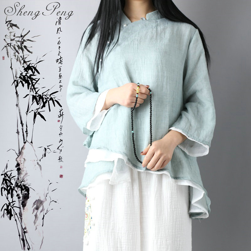 Cheongsam top chinese style clothing traditional chinese clothing for women qipao top linen shirt women linen