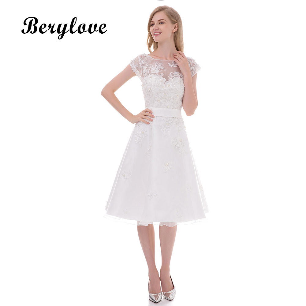 BeryLove White Short Knee Length Wedding Dresses 2018 Beaded Lace ...