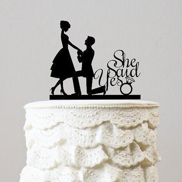 She Said Yes With Kneel Proposal Unique Wedding Cake Topper Romantic Decoration Acrylic Silhouette