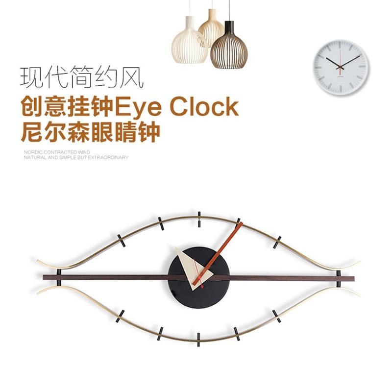 3d single face wood wall clock decoration silent modern design Eye Clock Quartz holder wall clocks art wall clock antique-in Wall Clocks from Home & Garden    1