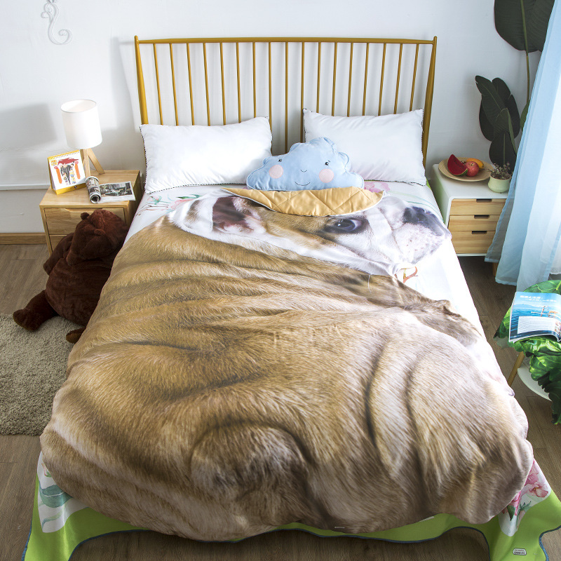 1,2 M Bettwäsche Set Animal Print Cosplay Decken Bulldog Weichen Fleece Werfen Quilt Sommer Kühlen Büro Nickerchen Klimaanlage Quilt
