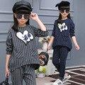 Conjuntos de roupas meninas listrado imprimir camisa de manga longa + calça 2 peças 2016 da queda do outono roupas para crianças boutique de 12 anos de idade adolescente