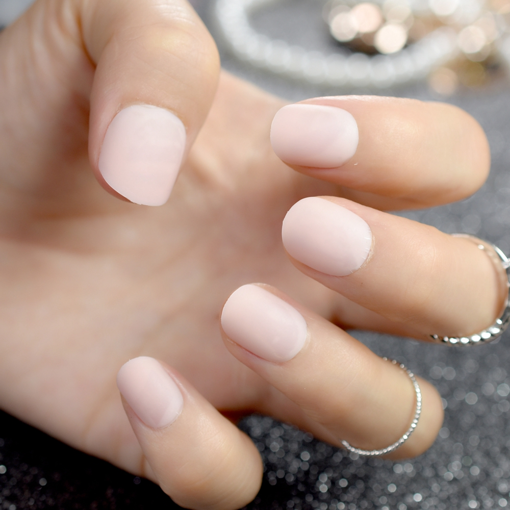 Matte Short Small Fake Nails Natural Pink Round Ladies Fashion ...