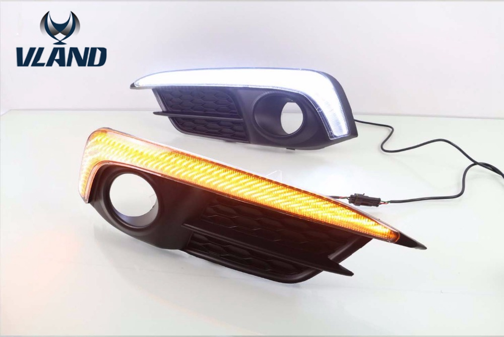 Vland фабрика для автомобиля туман лампа для Civic светодиодный дневного света 10th 2014 2016 для Civic 2 шт. DRL с желтыми поворотник
