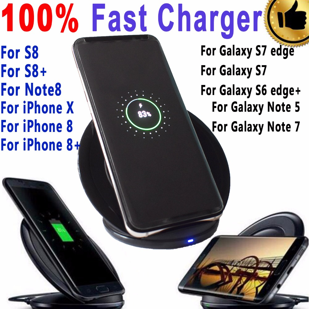 Original Genuine Qi Fast Wireless Charger for Samsung Galaxy Note 8 5 S6 S7 Edge S8 Plus Wireless Charger for iPhone X 8 8 Plus
