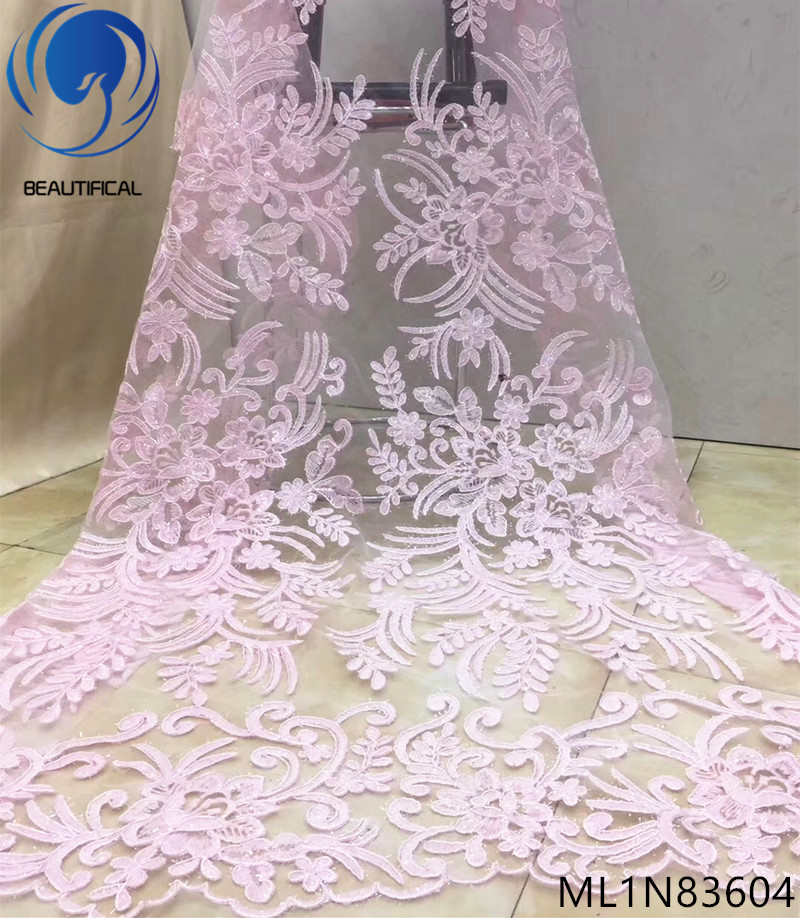 BEAUTIFICAL french lace fabrics pink embroidered net lace fabrics with sequins Hot sale nigerian lace fabric 5yards ML1N836