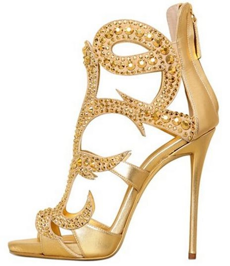 цены Luxury Gold Crystal High Heel Sandals Women Peep Toe Cut-out Cage Shoes Back Zipper Gladiator Sandals Boot For Women Big Size 10 в интернет-магазинах