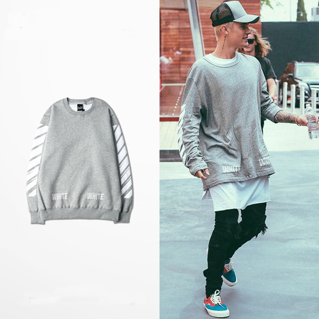 Justin Bieber Autumn Casual Off White Hoodies Sweatshirts White Stripes Rock Commemorate