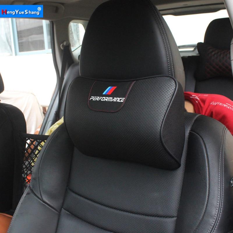NEW Leather Car Pillow Neck Pillow Headrest Car Accessories Universal for BMW E46 E90 E92 E60