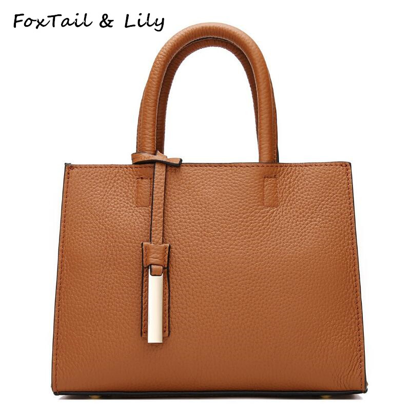 FoxTail & Lily Brand Women Genuine Leather Small Tote Handbag Elegant Ladies Shoulder Messenger Bags Real Leather Killer Bag Hot real genuine leather women single shoulder bag small cross body satchel ladies messenger bags famous brand cowhide tote handbag