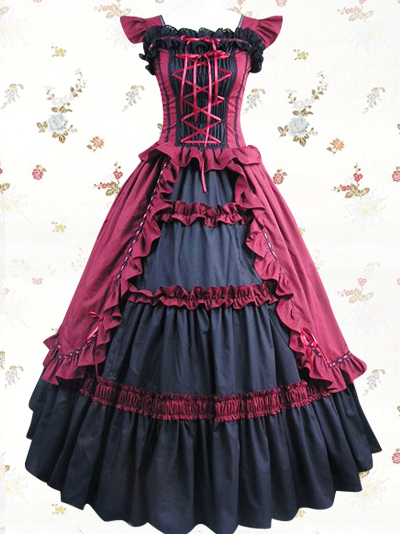Women Adult Medieval Renaissance Victorian Dress Costume Halloween Party Gothic Lolita Cosplay Ball Gown Wine red