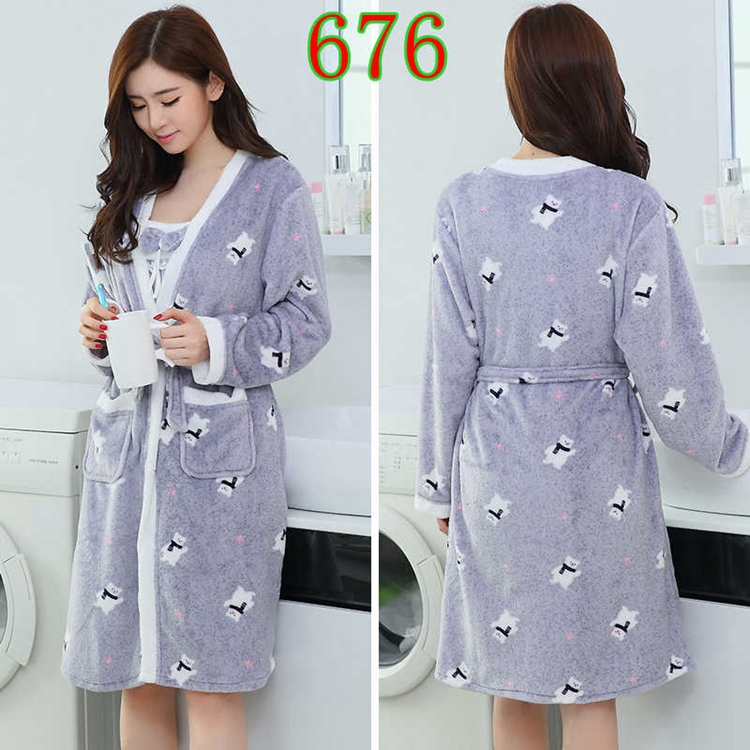 2PCS Sexy Thick Warm Flannel Robes Sets for Women 2018 Winter Coral Velvet Lingerie Night Dress Bathrobe Two Piece Set Nightgown 279
