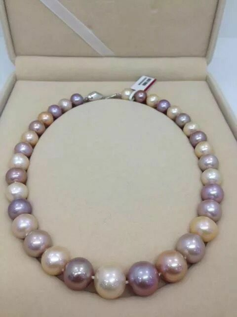 huge 13-15mm south sea round multicolor pearl necklace 18inch 925shuge 13-15mm south sea round multicolor pearl necklace 18inch 925s