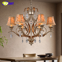 FUMAT K9 Crystal Chandeliers Vintage American Minimalist Fabrics Suspension Light For Living Room Bedroom Art Deco Chandelier