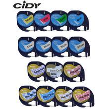 CIDY 91201 смешанные совместимые 12 мм черный на белом Dymo Letratag пластиковые ленты LT 91331 LT9120112267 18769 18771 для LT-100H LT-100T