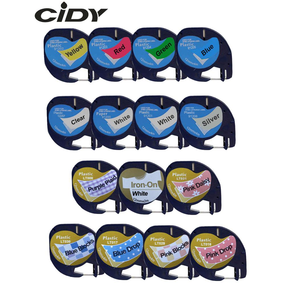 CIDY 91201 Compatible 12mm*4m Black On White Dymo Letratag Plastic Tape LT 91331 LT9120112267 18769 18771 For LT-100H LT-100T