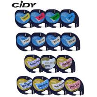 CIDY Mixed Compatible 12mm Black on white Dymo Letratag Plastic Tape LT 91201 91331 LT91201 LT 12267 18769 18771 for LT-100H [category]