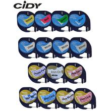 CIDY Mixed Compatible 12mm Black on white Dymo Letratag Plastic Tape LT 91201 91331 LT91201 12267 18769 18771 for LT-100H