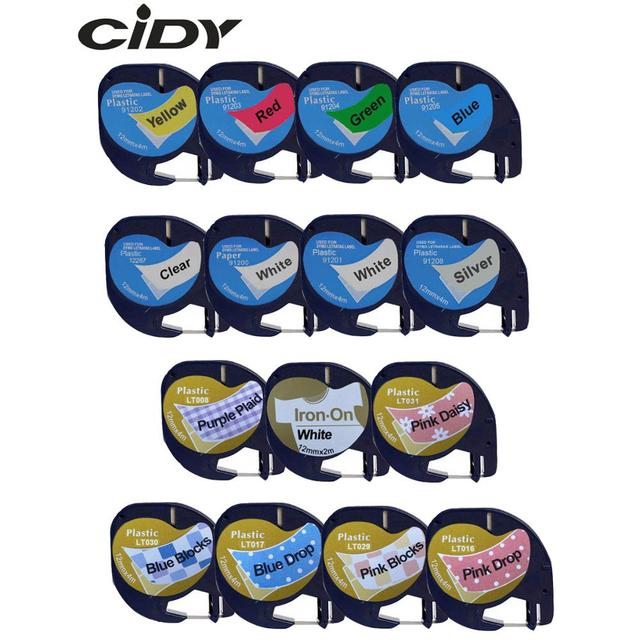 CIDY Mixed Compatible 12mm Black on white Dymo Letratag Plastic Tape LT 91201 91331 LT91201 LT 12267 18769 18771 for LT-100H