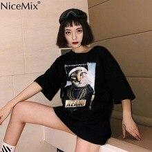 NiceMix Summer Kawaii T Shirt Women Tops Harajuku T-shirts Printed Funny Cat Loose Plus Size Tee Vetement Femme 2019