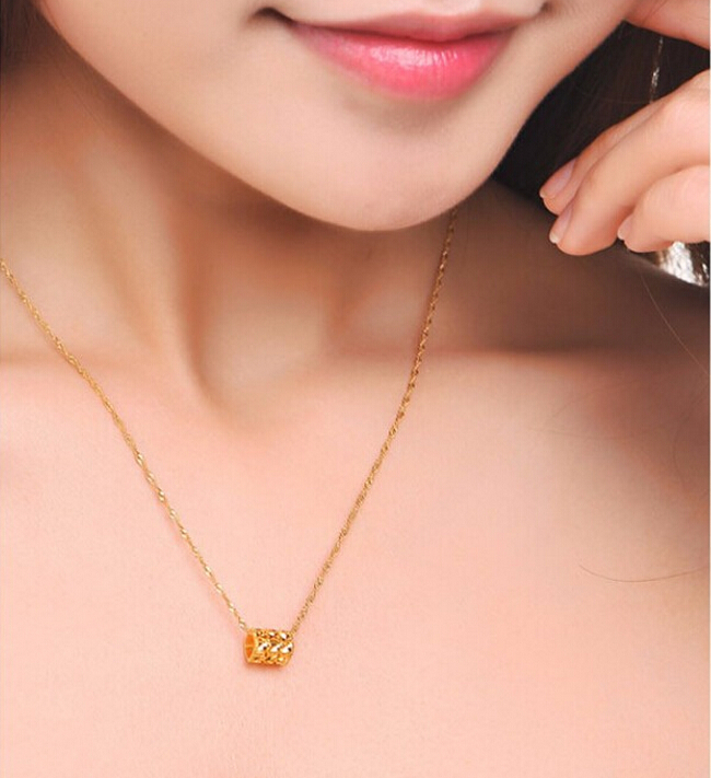 Luxury Fashion Pure 24k Yellow Gold Pendant 3D Bless Carved Shape Pendant 1.29g pure 24k yellow gold natural jadeite carved dragon phoenix pendant