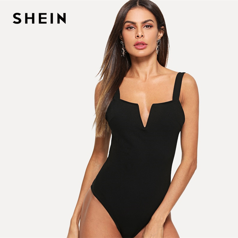 SHEIN Sexy Black V Cut Front Form Fitting Straps Mid Waist Sleeveless Skinny Bodysuit Women 2019 Summer Party Bodysuits