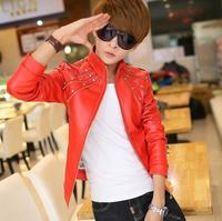Fashion punk costume men leather jacket stand collar personality rivet mens leather coats outerwear singer stage black white red