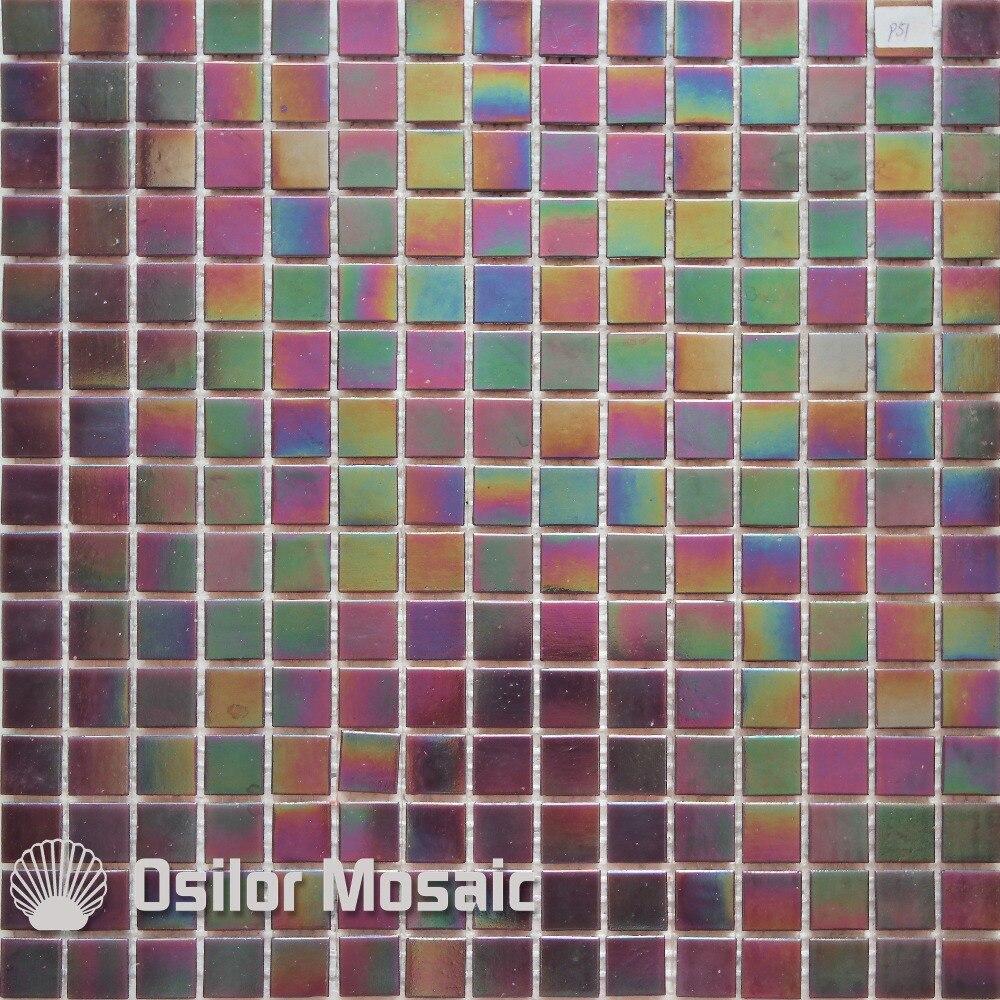 Spedizione gratuita in vetro iridescente mattonelle di mosaico per ...
