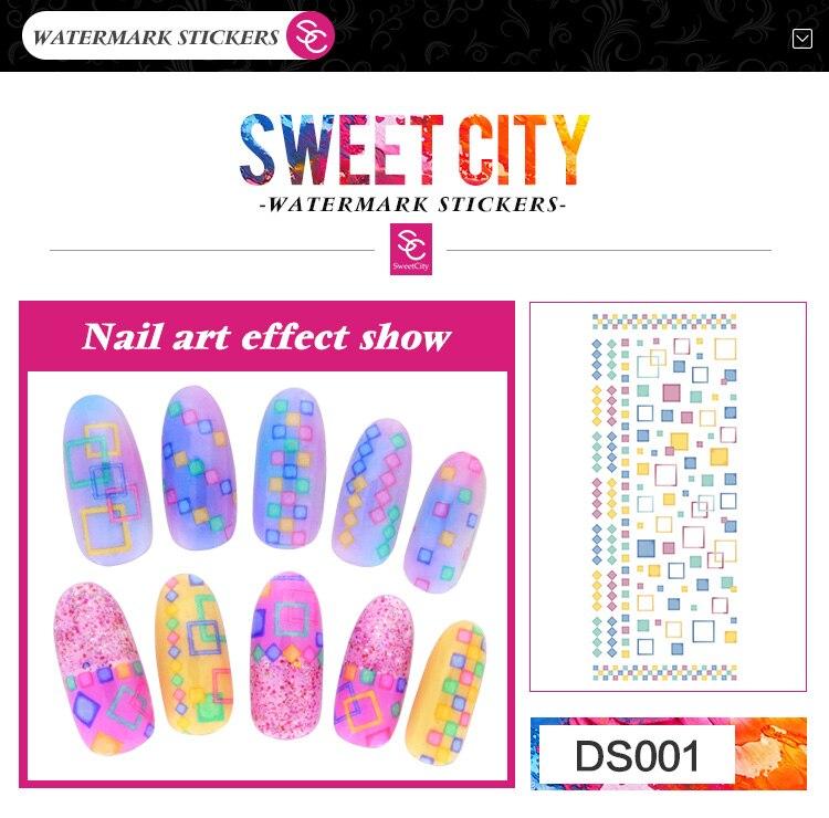 Sweet city gel de uñas de transferencia de agua pegatinas del arte del clavo de