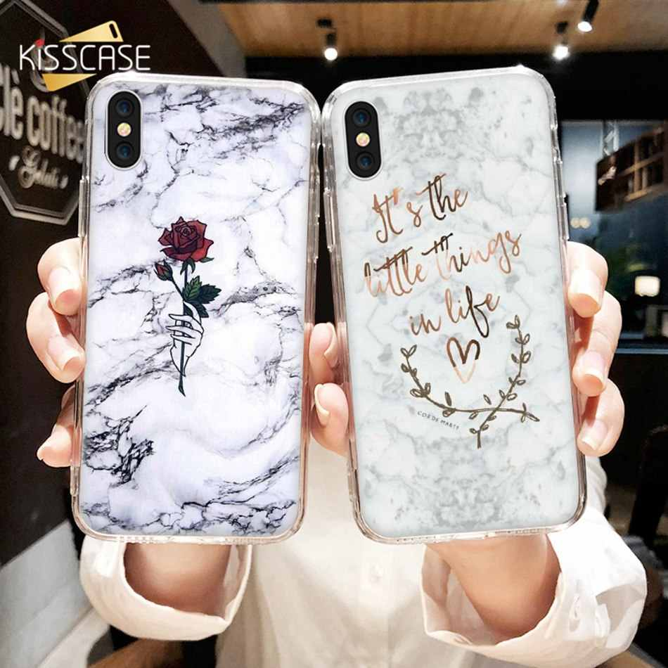 BEIJOS Mármore Caixa Do Telefone Para o iphone XR 7 8 6 6S Plus X XS MAX Casos TPU Macio Para O caso iPhone 5 5S SE Funda Roes Pattern Back Covers