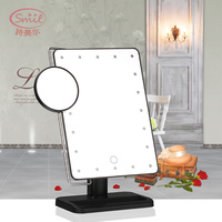 Touch Screen LED Table Mirror W 10 Times Magnifying Glass Cosmetic Mirror Personal Care Cleaning Washing