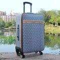 20 дюймов 49 см x 34 см x 19 см пу тележка 4 колеса путешествовать багажа или чемодан для мужчин или женщин