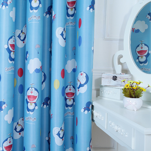 Cartoon Sailing Ship Design Shading Curtain Blackout: Curtains For Kids Doraemon Cartoon Curtain Fabric Finished