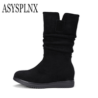 ASYSPLNX 2017 New Suede Genuine Leather Round Toe Platform Wedges Women Mid Cal Boots Winter Plush