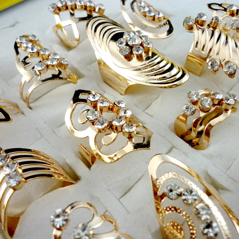 Prix pour 20 Pcs Style Mix Alliage de Zinc Bague En Or Bague Réglable pour les Femmes Mode Bijoux Bijoux Lot Anneaux LR475