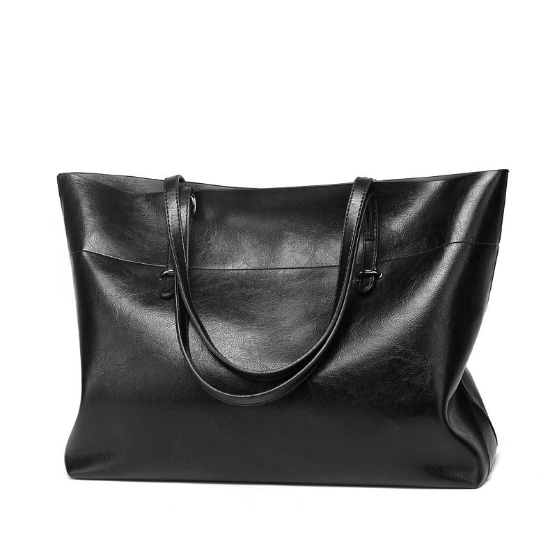 Women\\'S Leather Tote Bag Women Handbags Designer Large Capacity Black Leisure Shoulder Bags