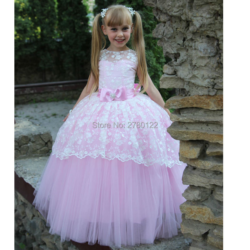 New Wedding Party elegant Formal   Flowers     Girl     Dress   2019 Aline lace Baby Pageant   Dresses   Birthday Cummunion Kids Custom made