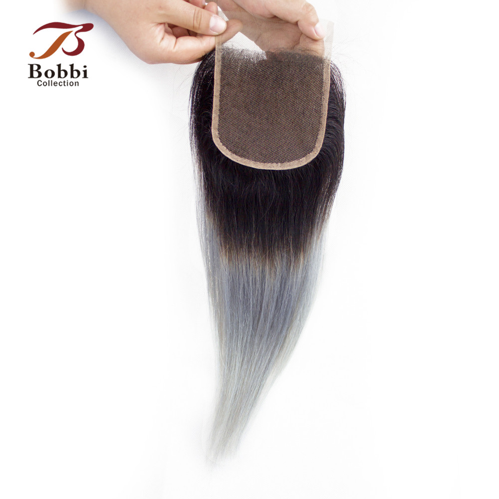 BOBBI COLLECTION 2/3 Bundles With Closure Ombre Dark Grey Brazillian Straight Hair Pre-Colored Remy Human Hair Extensions