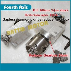 Image 2 - DE schiff/freies MEHRWERTSTEUER 4th drehachse Gapless harmonic minderer Getriebe 3 kiefer K11 100mm teilapparat & Reitstock für CNC ROUTER MASCHINE