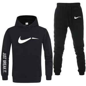 جديد 2019 العلامة التجارية رياضية الرجال ملابس اخلية حرارية الرجال الرياضية مجموعات الصوف سميكة هوديي + السراويل الرياضية دعوى Malechandal هومبر